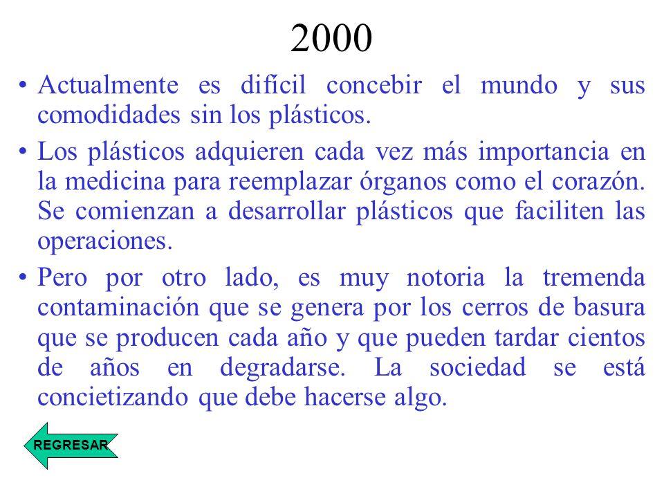 2000 Actualmente es difícil concebir el mundo y sus comodidades sin los plásticos.