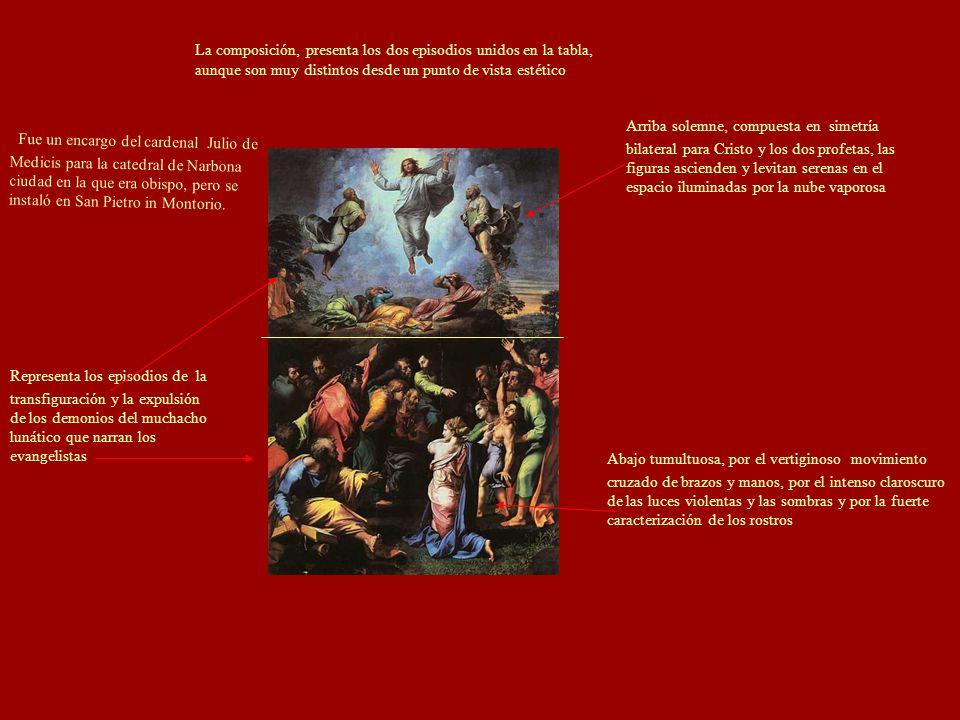 La composición, presenta los dos episodios unidos en la tabla, aunque son muy distintos desde un punto de vista estético