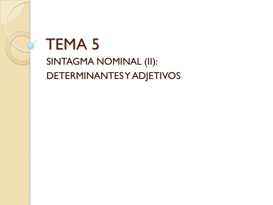 SINTAGMA NOMINAL (II): DETERMINANTES Y ADJETIVOS