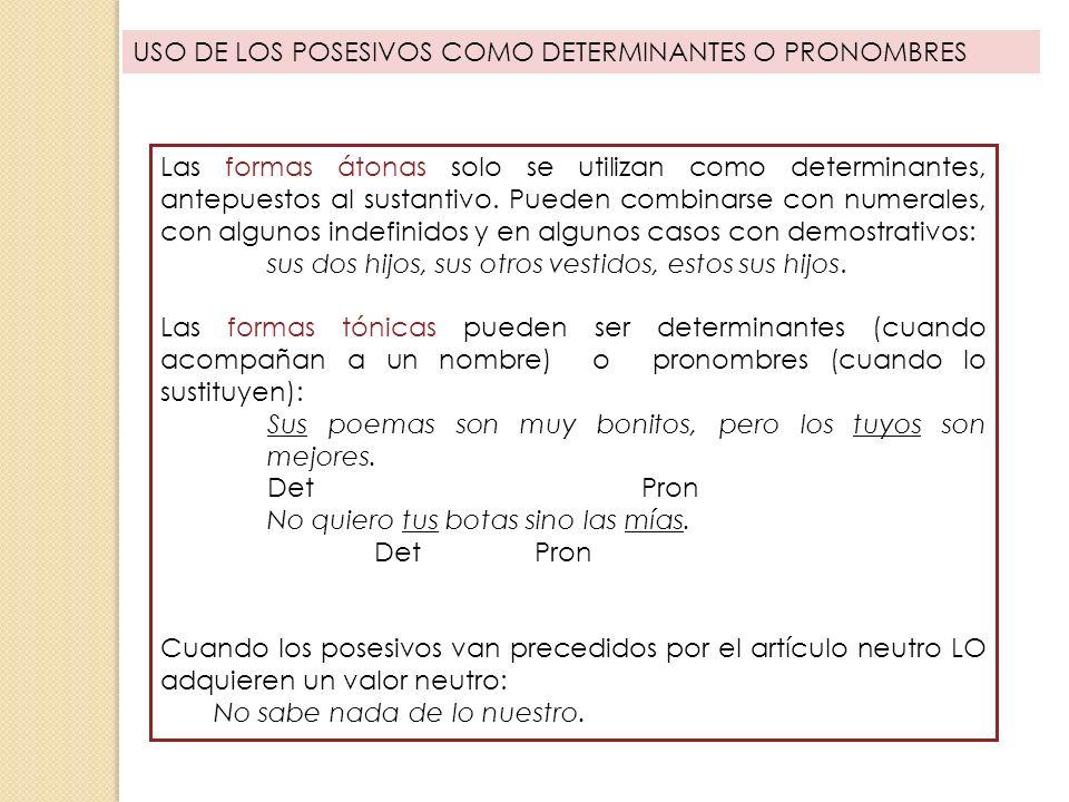 USO DE LOS POSESIVOS COMO DETERMINANTES O PRONOMBRES