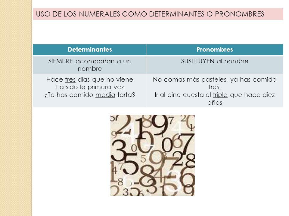 USO DE LOS NUMERALES COMO DETERMINANTES O PRONOMBRES