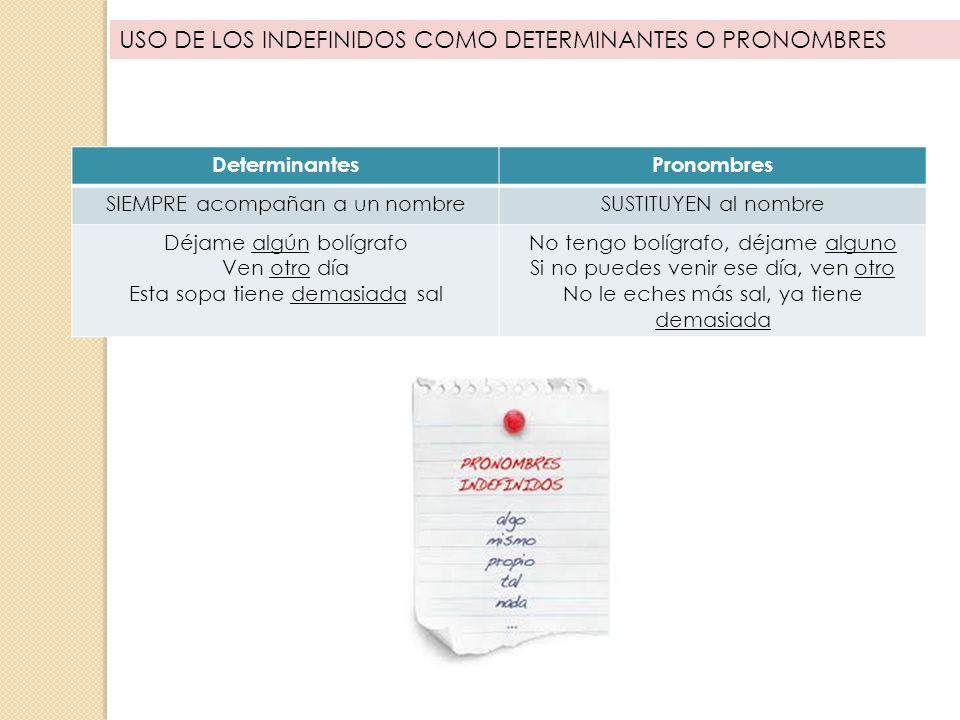 USO DE LOS INDEFINIDOS COMO DETERMINANTES O PRONOMBRES