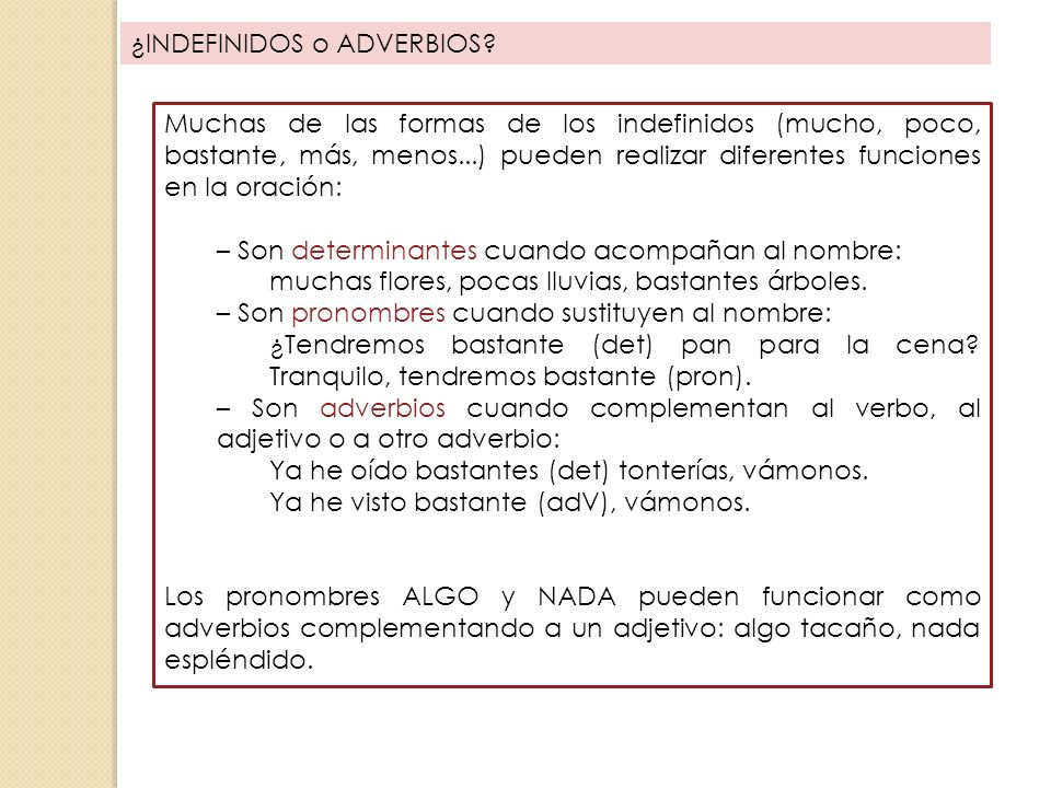 ¿INDEFINIDOS o ADVERBIOS