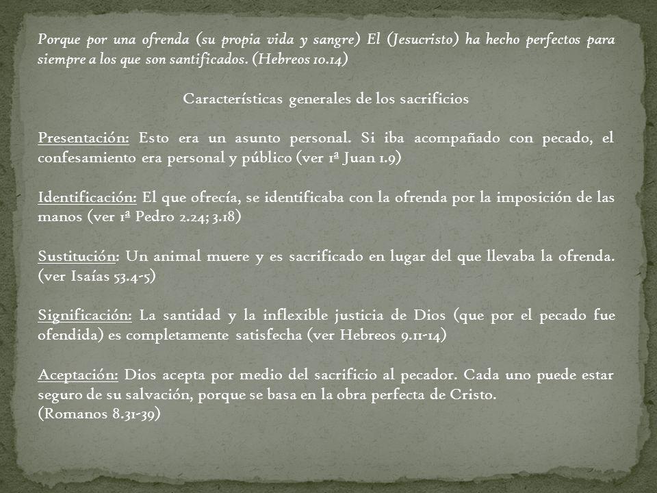 Características generales de los sacrificios