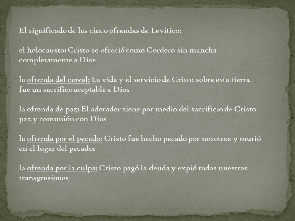 El significado de las cinco ofrendas de Levítico: