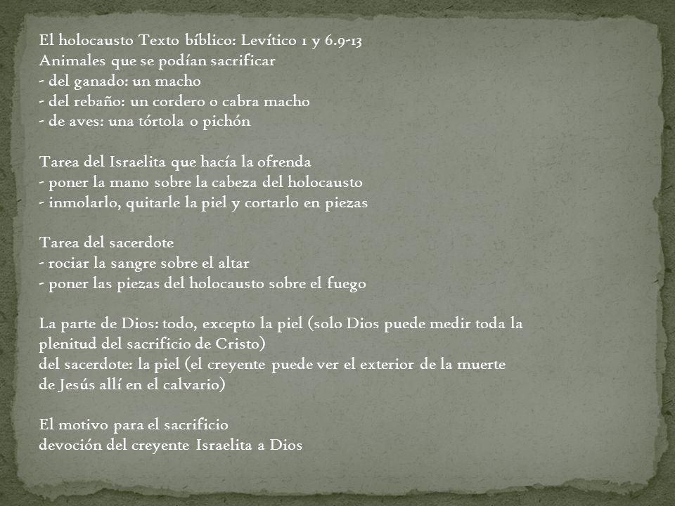 El holocausto Texto bíblico: Levítico 1 y 6.9-13