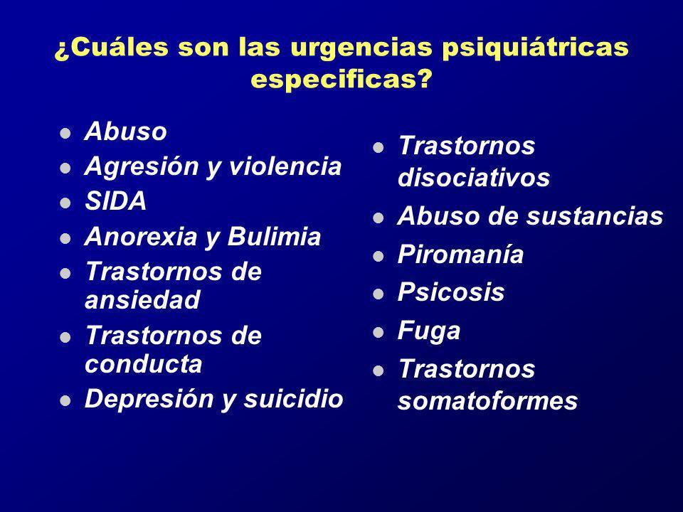 ¿Cuáles son las urgencias psiquiátricas especificas