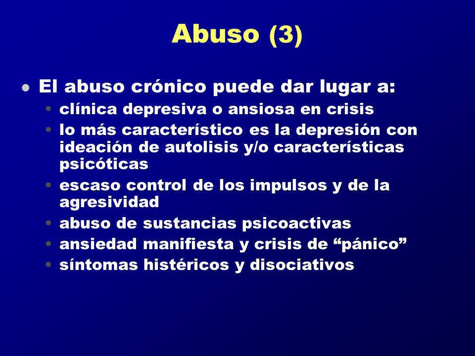 Abuso (3) El abuso crónico puede dar lugar a:
