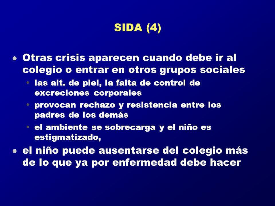 SIDA (4) Otras crisis aparecen cuando debe ir al colegio o entrar en otros grupos sociales.