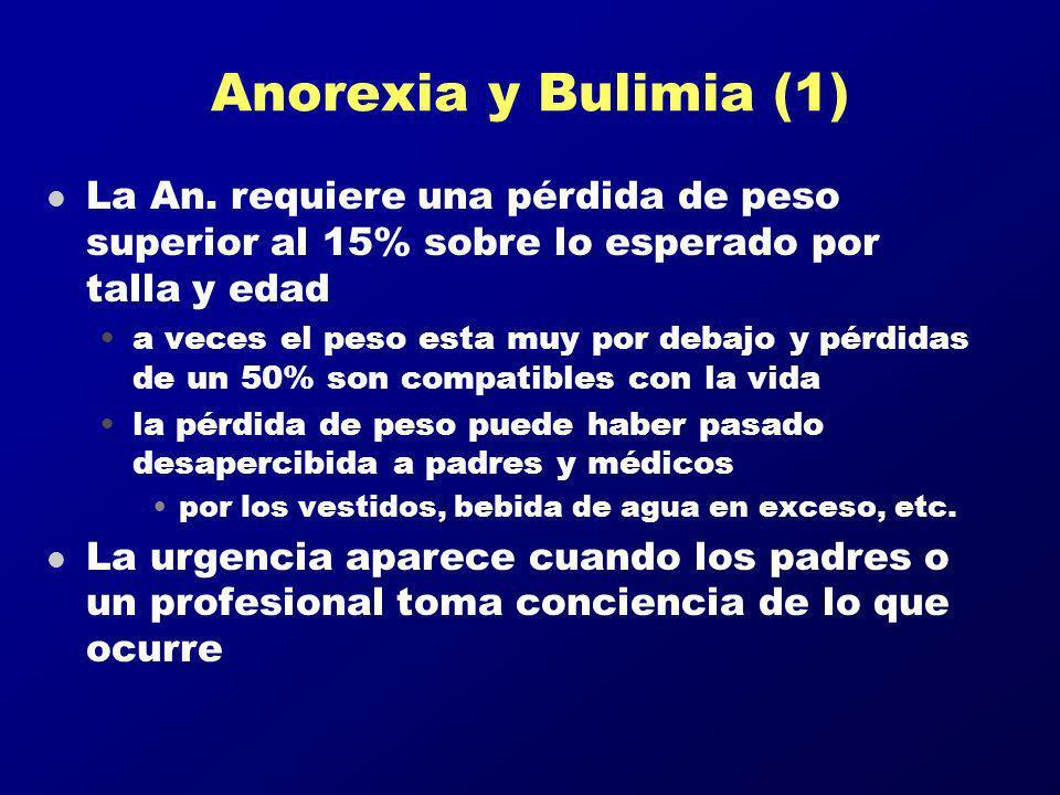 Anorexia y Bulimia (1) La An. requiere una pérdida de peso superior al 15% sobre lo esperado por talla y edad.