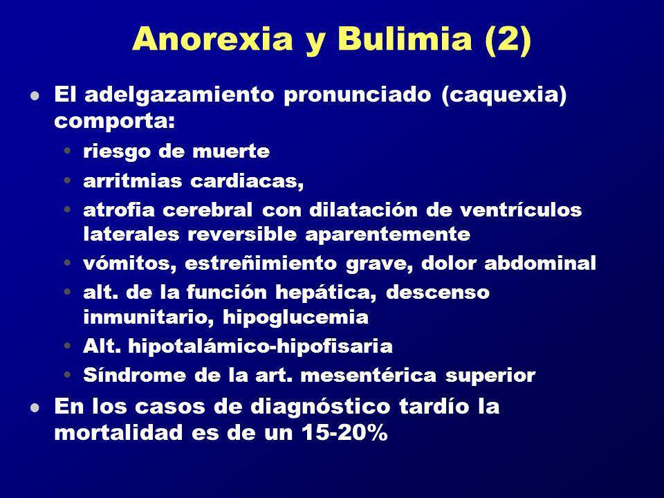 Anorexia y Bulimia (2) El adelgazamiento pronunciado (caquexia) comporta: riesgo de muerte. arritmias cardiacas,