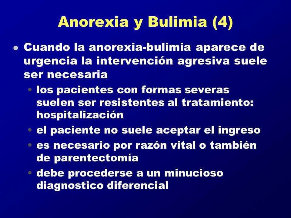 Anorexia y Bulimia (4) Cuando la anorexia-bulimia aparece de urgencia la intervención agresiva suele ser necesaria.