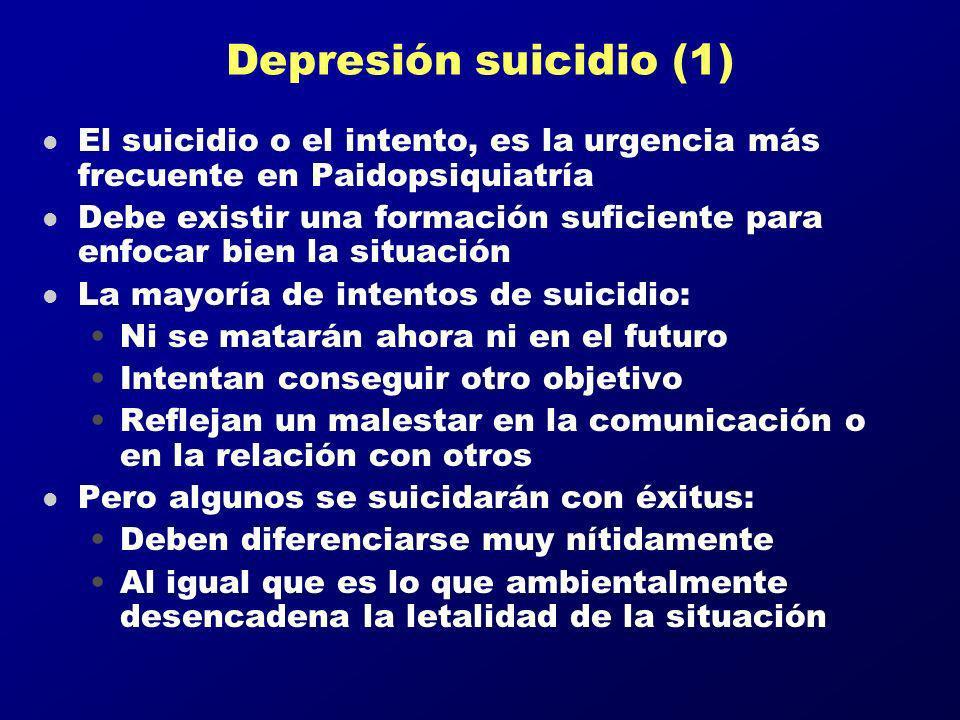 Depresión suicidio (1) El suicidio o el intento, es la urgencia más frecuente en Paidopsiquiatría.
