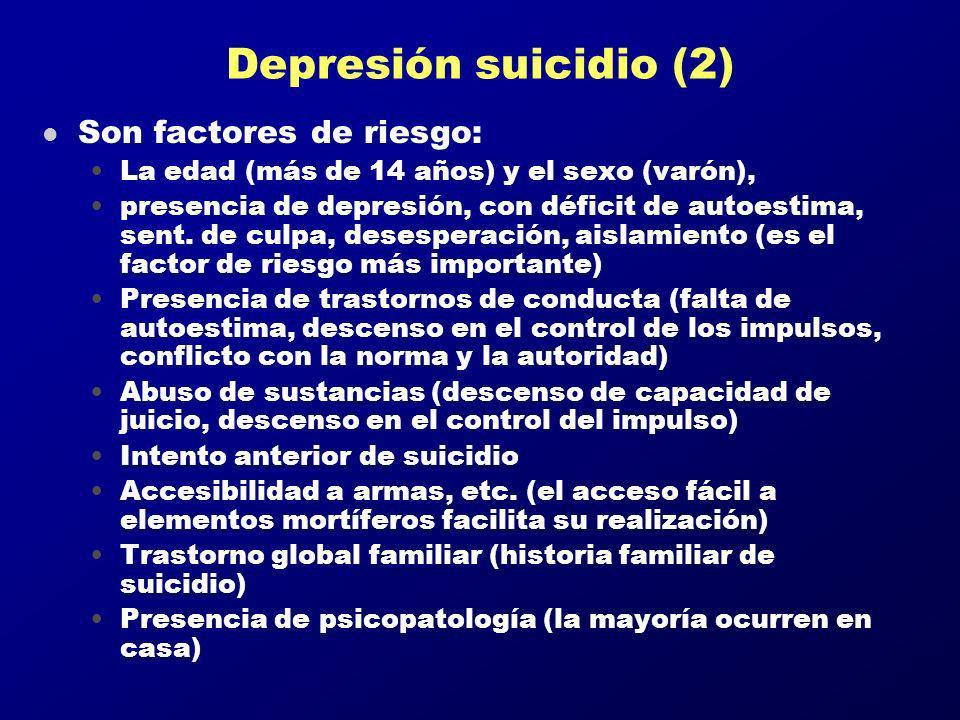 Depresión suicidio (2) Son factores de riesgo: