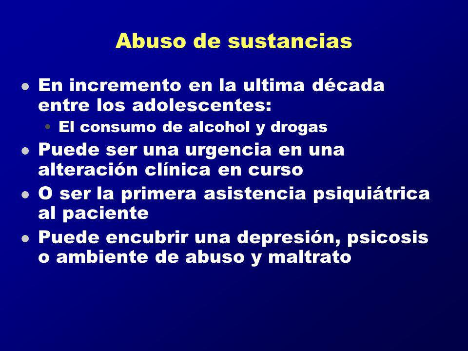 Abuso de sustancias En incremento en la ultima década entre los adolescentes: El consumo de alcohol y drogas.