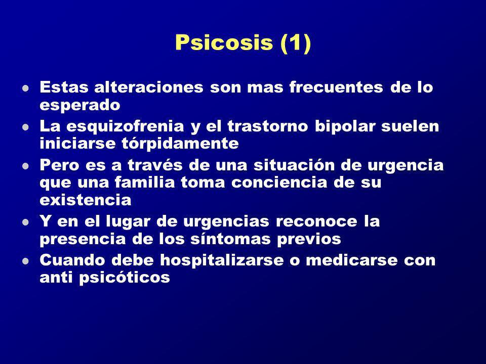 Psicosis (1) Estas alteraciones son mas frecuentes de lo esperado