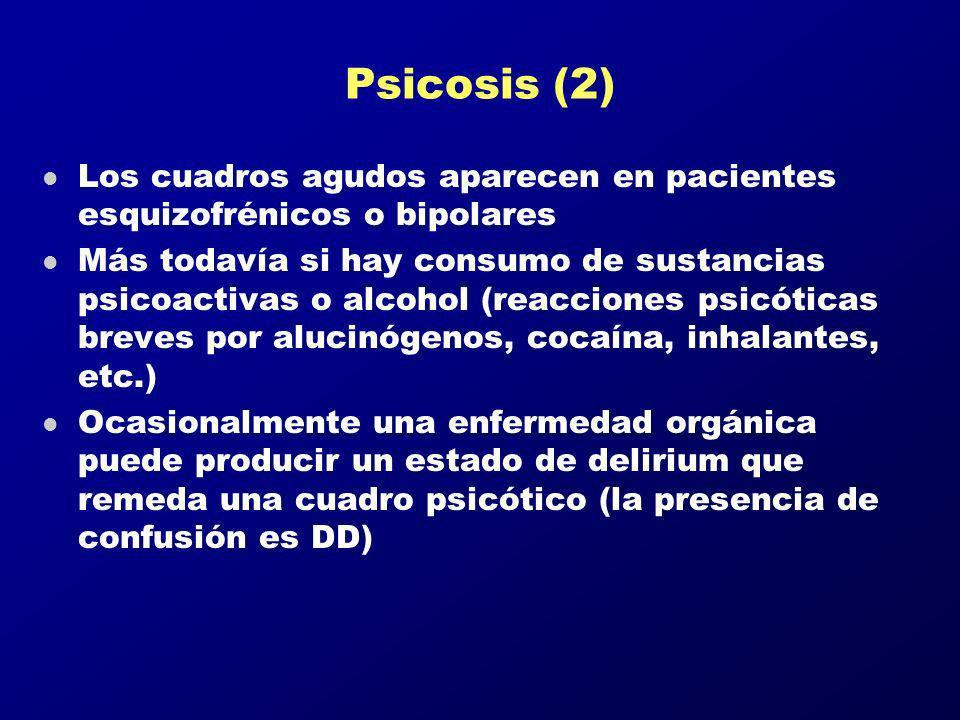 Psicosis (2) Los cuadros agudos aparecen en pacientes esquizofrénicos o bipolares.