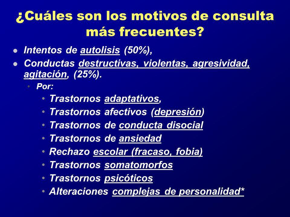 ¿Cuáles son los motivos de consulta más frecuentes