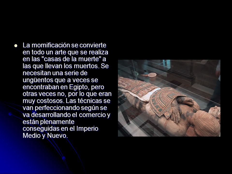La momificación se convierte en todo un arte que se realiza en las casas de la muerte a las que llevan los muertos.