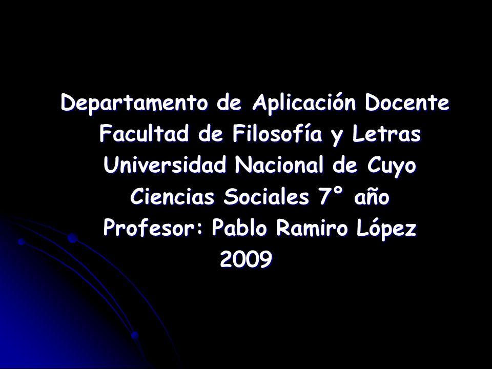 Departamento de Aplicación Docente Facultad de Filosofía y Letras