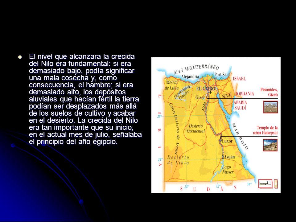 El nivel que alcanzara la crecida del Nilo era fundamental: si era demasiado bajo, podía significar una mala cosecha y, como consecuencia, el hambre; si era demasiado alto, los depósitos aluviales que hacían fértil la tierra podían ser desplazados más allá de los suelos de cultivo y acabar en el desierto.