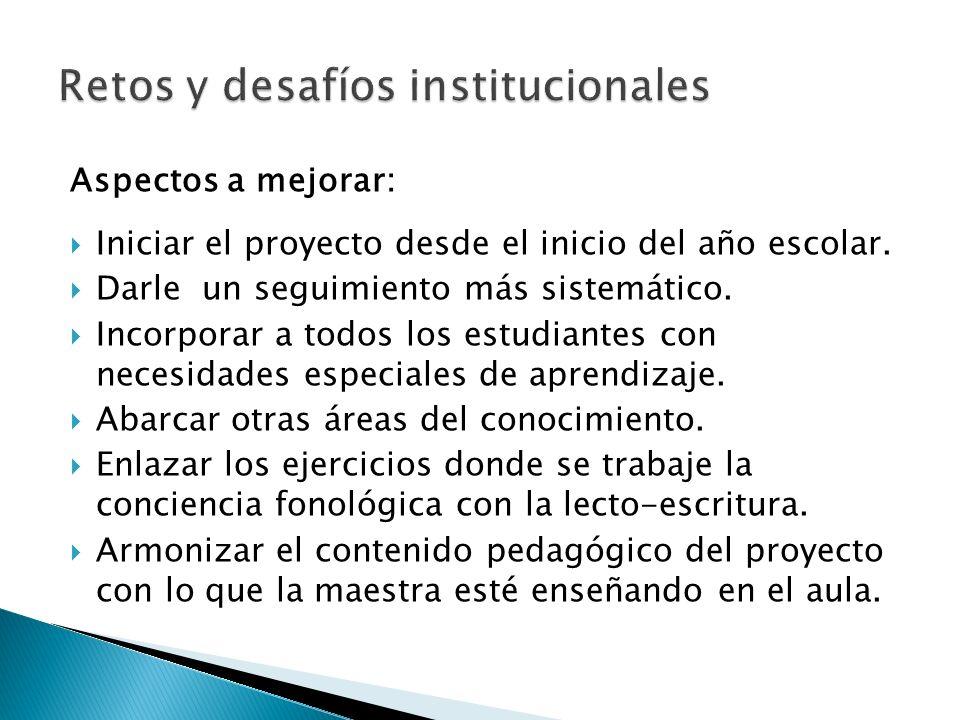 Retos y desafíos institucionales