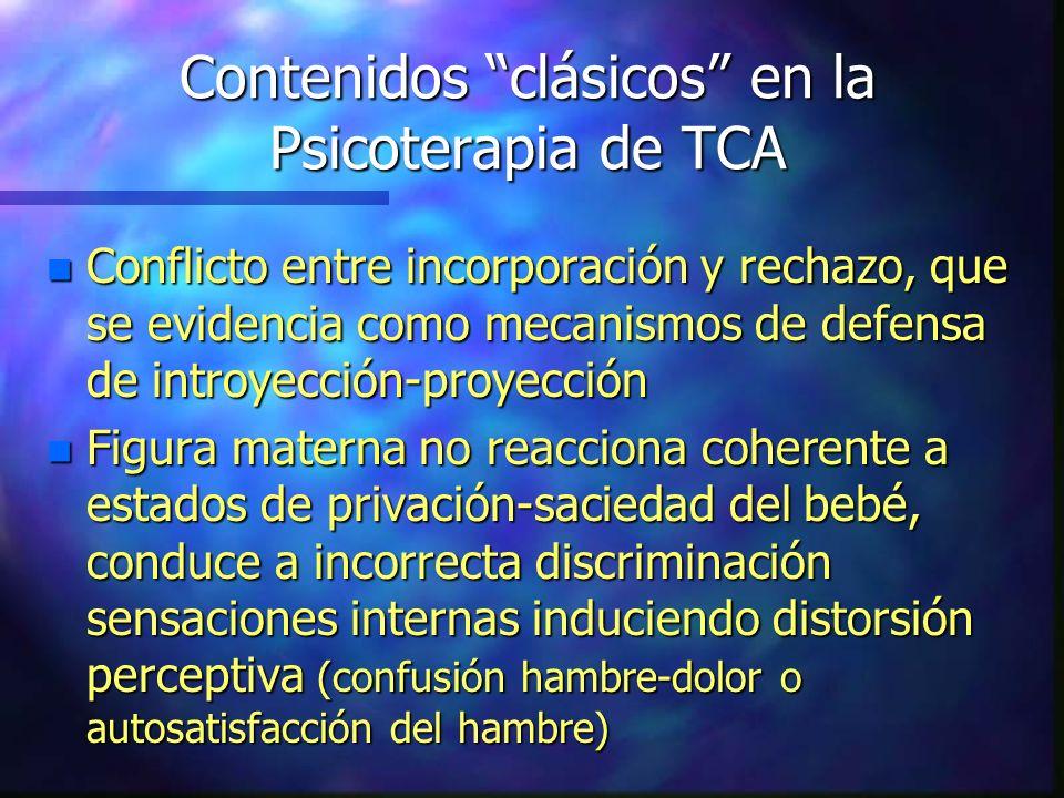 Contenidos clásicos en la Psicoterapia de TCA