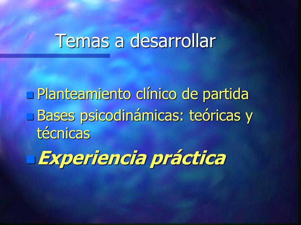 Temas a desarrollar Experiencia práctica