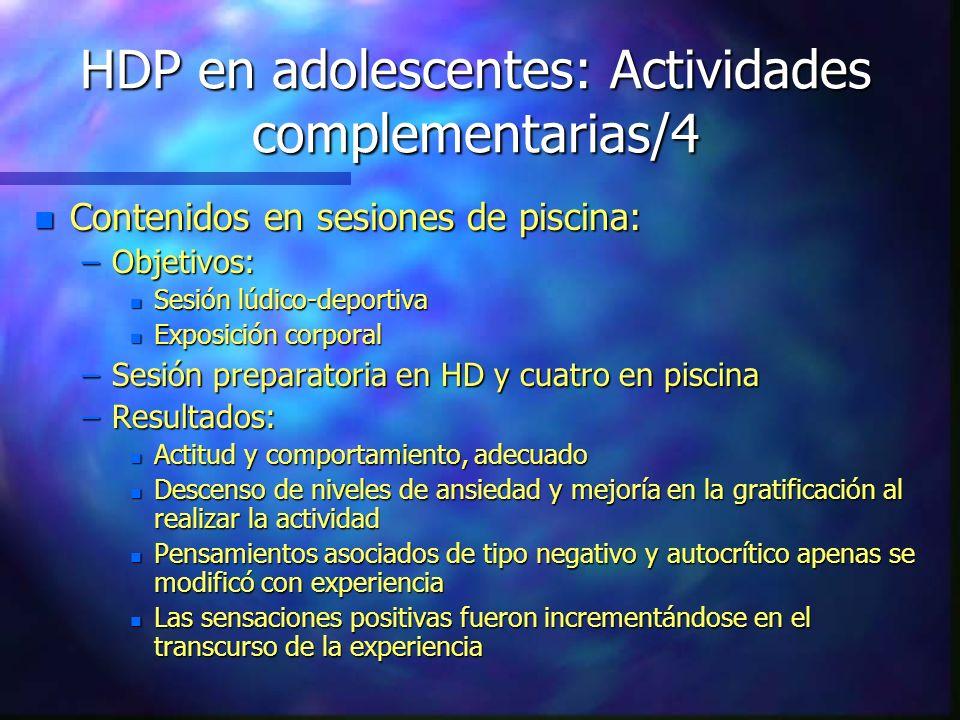 HDP en adolescentes: Actividades complementarias/4