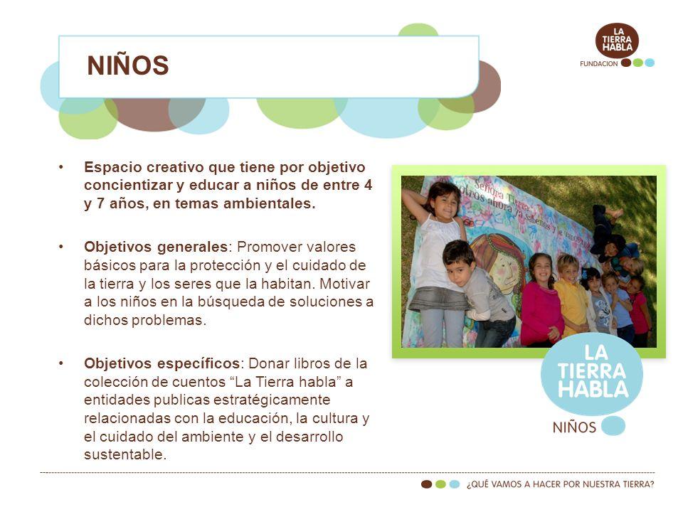 NIÑOS Espacio creativo que tiene por objetivo concientizar y educar a niños de entre 4 y 7 años, en temas ambientales.