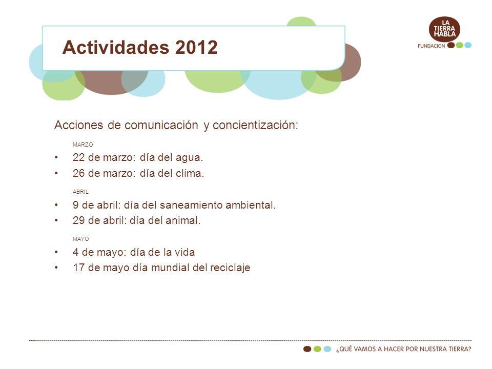Actividades 2012 Acciones de comunicación y concientización: