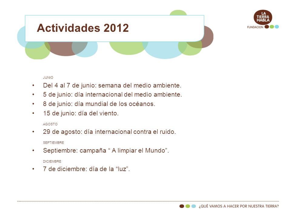 Actividades 2012 Del 4 al 7 de junio: semana del medio ambiente.