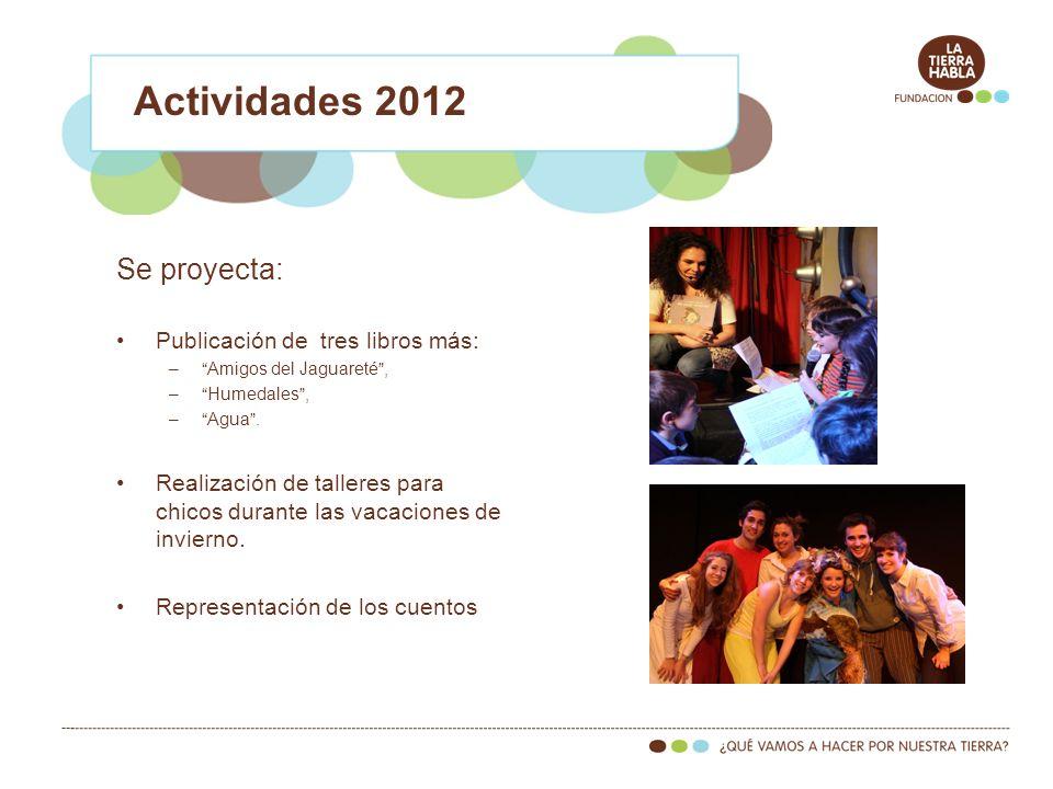 Actividades 2012 Se proyecta: Publicación de tres libros más: