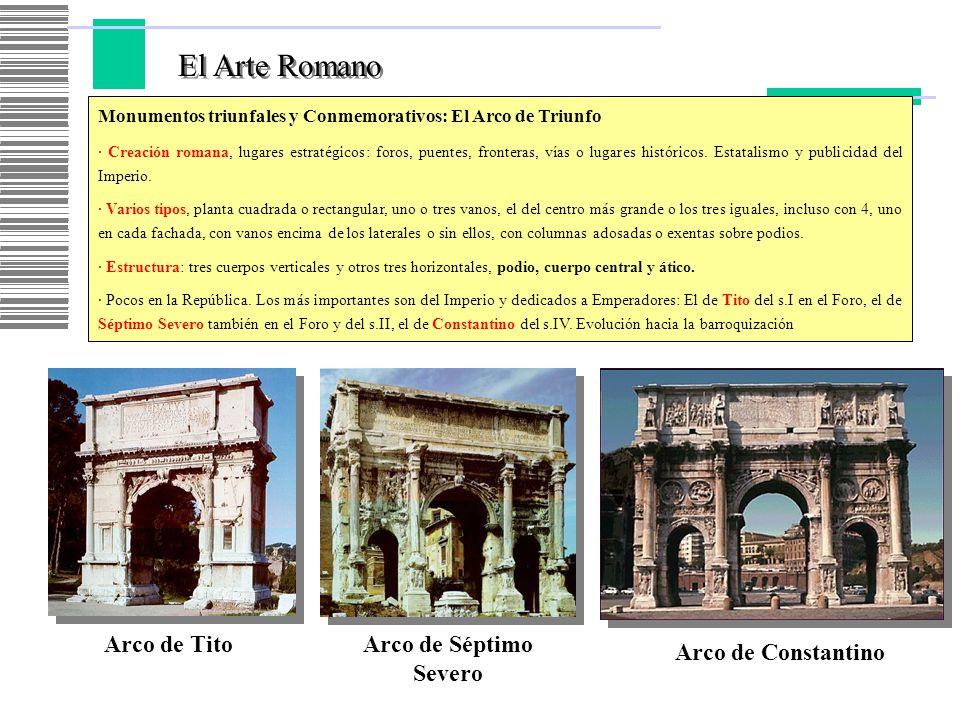 El Arte Romano Arco de Tito Arco de Séptimo Severo Arco de Constantino