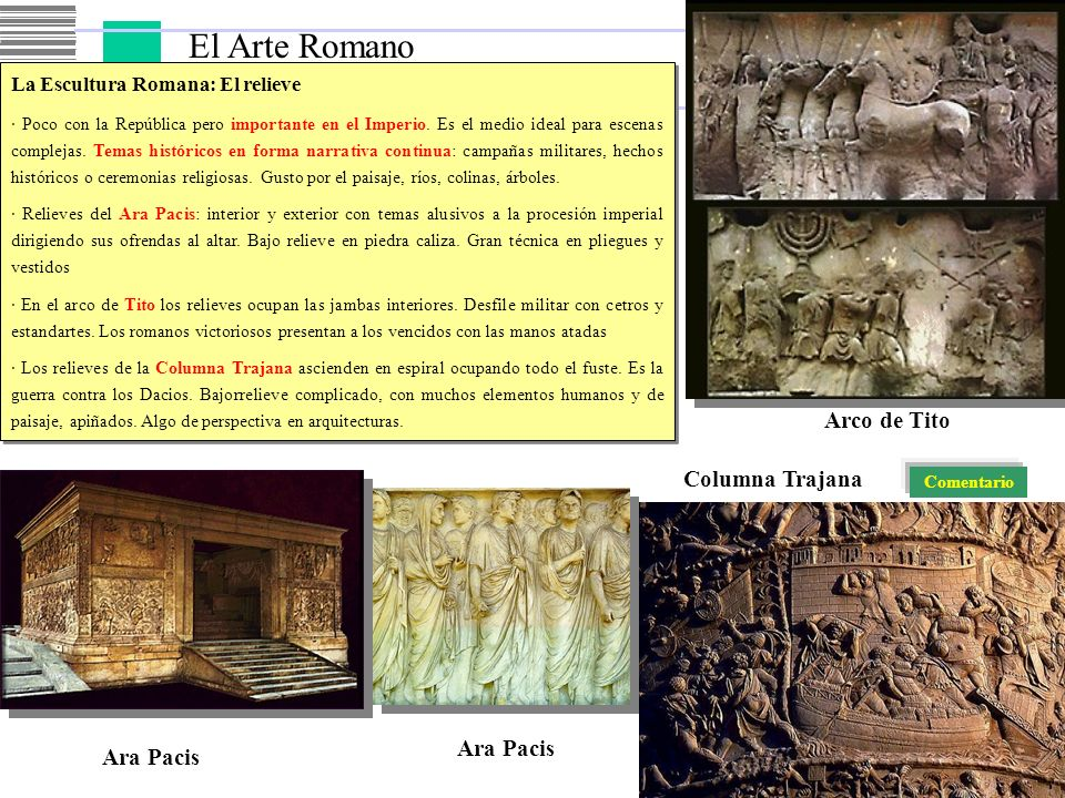 El Arte Romano Arco de Tito Columna Trajana Ara Pacis Ara Pacis
