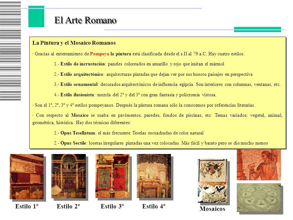El Arte Romano Estilo 1º Estilo 2º Estilo 3º Estilo 4º Mosaicos
