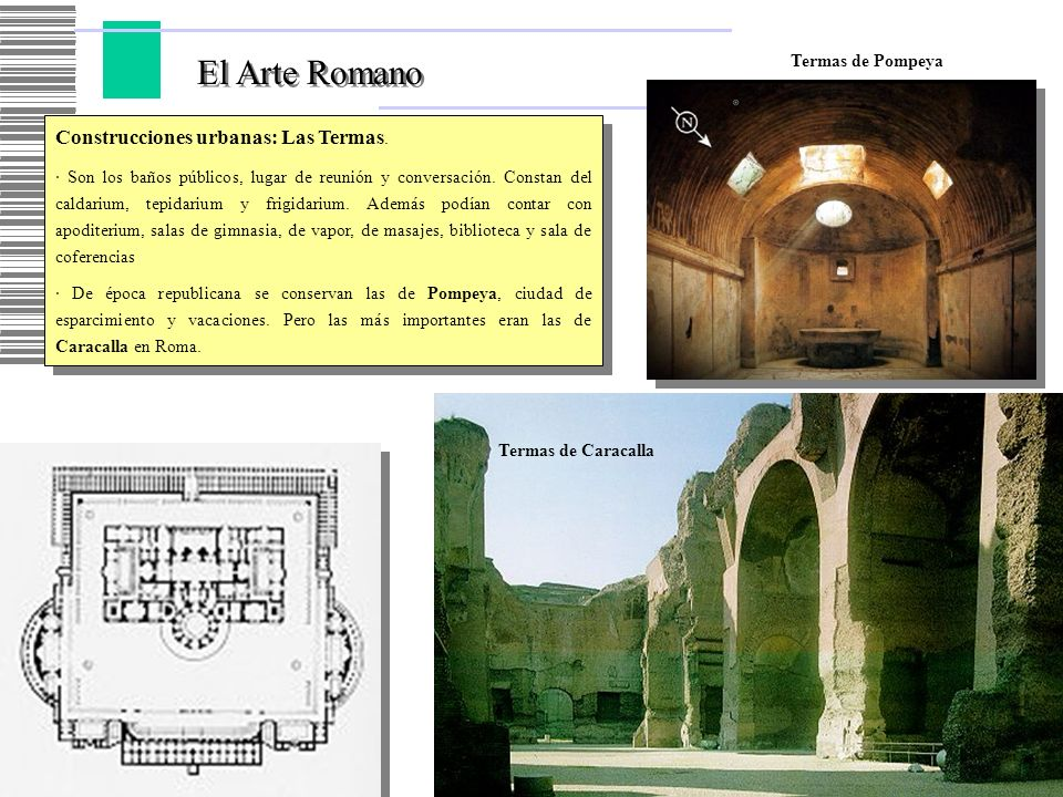 El Arte Romano Construcciones urbanas: Las Termas. Termas de Pompeya