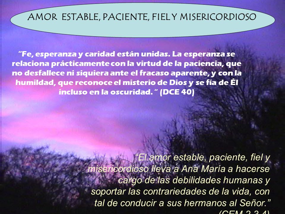 AMOR ESTABLE, PACIENTE, FIEL Y MISERICORDIOSO
