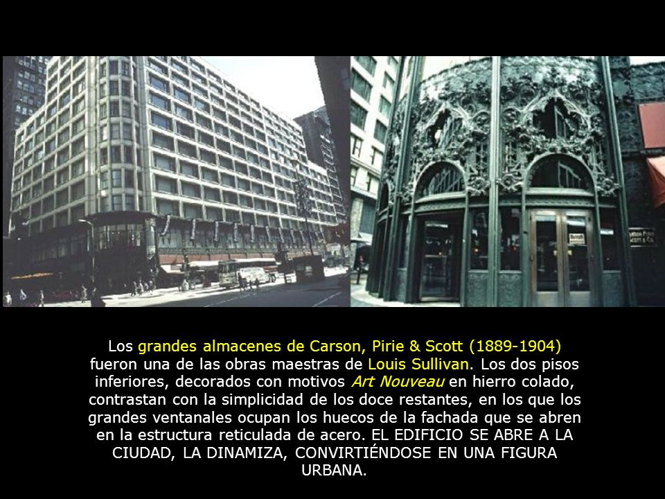 Los grandes almacenes de Carson, Pirie & Scott (1889-1904) fueron una de las obras maestras de Louis Sullivan.
