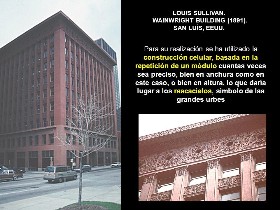 LOUIS SULLIVAN. WAINWRIGHT BUILDING (1891). SAN LUÍS, EEUU.