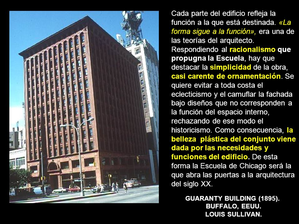 GUARANTY BUILDING (1895). BUFFALO, EEUU. LOUIS SULLIVAN.