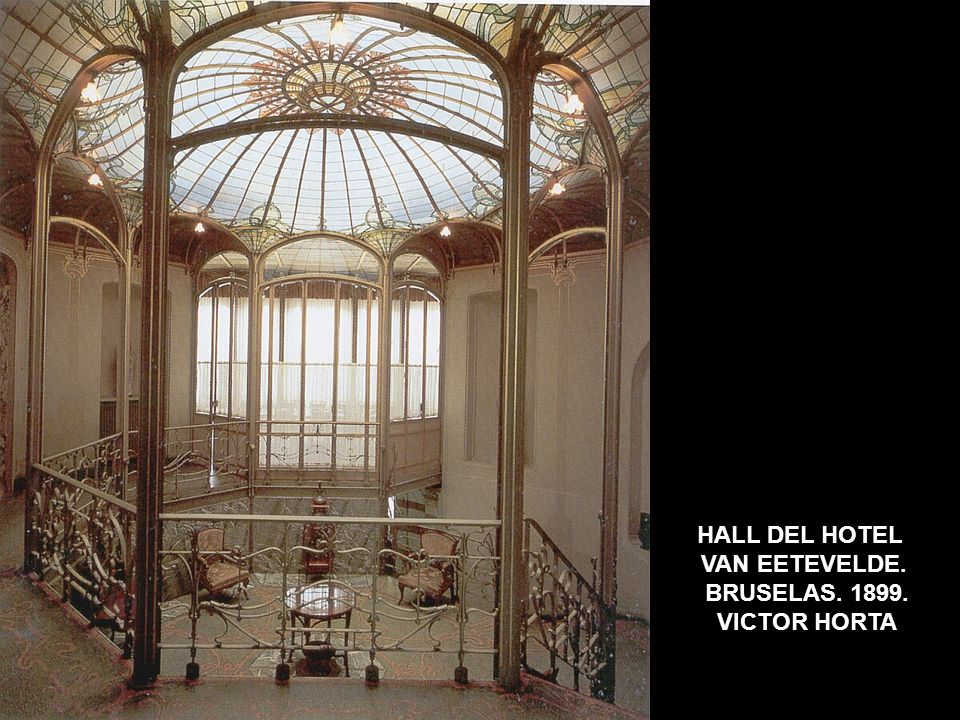HALL DEL HOTEL VAN EETEVELDE. BRUSELAS. 1899. VICTOR HORTA