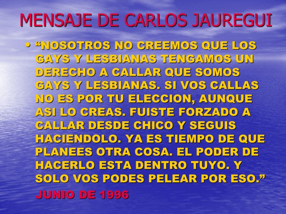 MENSAJE DE CARLOS JAUREGUI