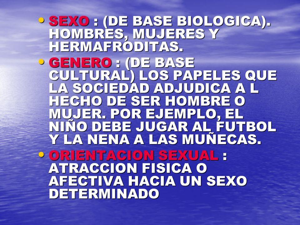 SEXO : (DE BASE BIOLOGICA). HOMBRES, MUJERES Y HERMAFRODITAS.