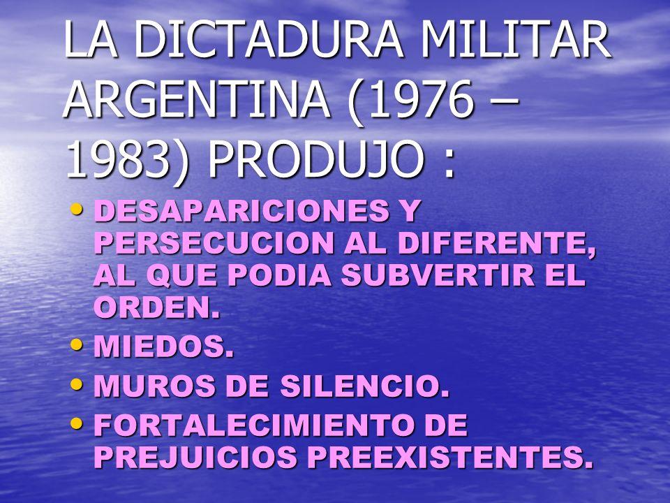 LA DICTADURA MILITAR ARGENTINA (1976 – 1983) PRODUJO :