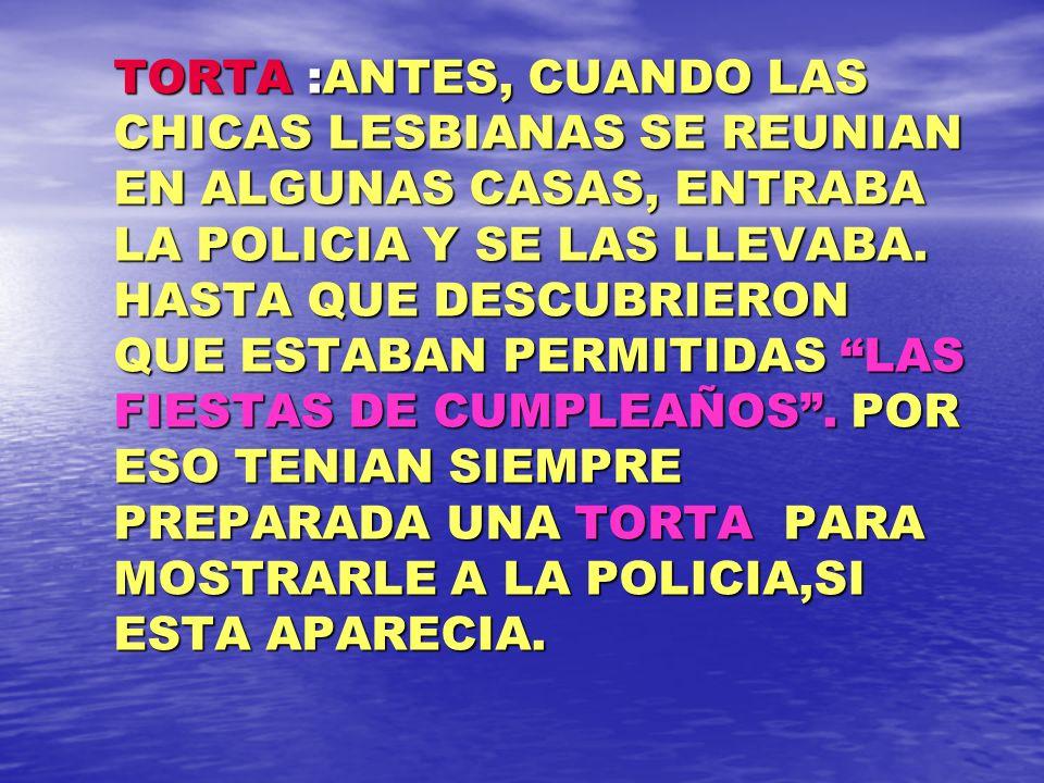 TORTA :ANTES, CUANDO LAS CHICAS LESBIANAS SE REUNIAN EN ALGUNAS CASAS, ENTRABA LA POLICIA Y SE LAS LLEVABA.
