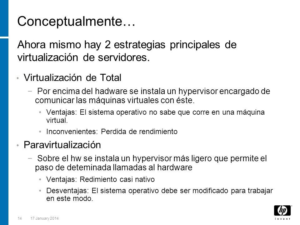 Conceptualmente… Ahora mismo hay 2 estrategias principales de virtualización de servidores. Virtualización de Total.