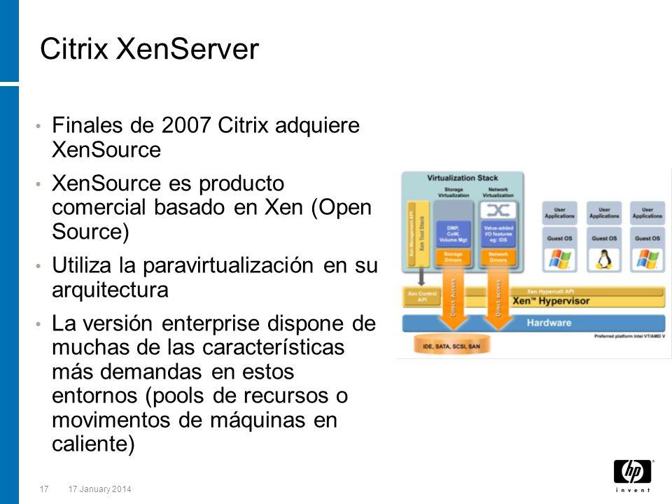 Citrix XenServer Finales de 2007 Citrix adquiere XenSource
