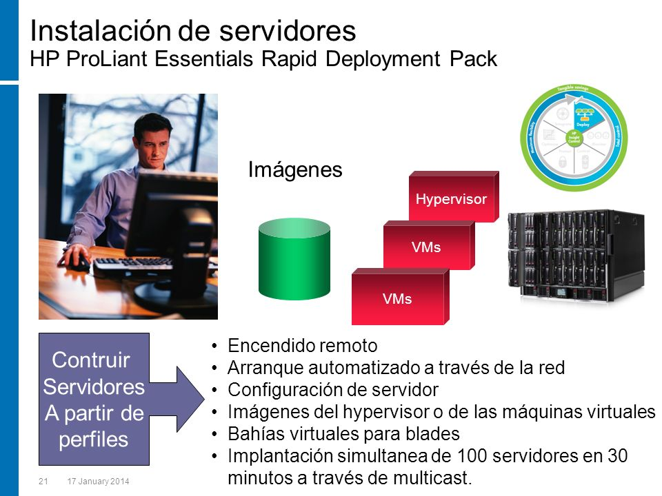 Instalación de servidores HP ProLiant Essentials Rapid Deployment Pack