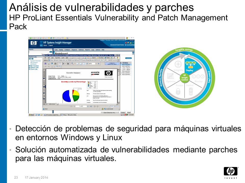 Análisis de vulnerabilidades y parches HP ProLiant Essentials Vulnerability and Patch Management Pack